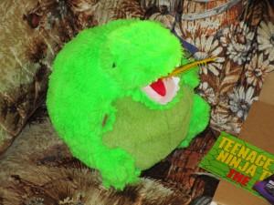 Mini T-Rex enjoyed the rubber worm.